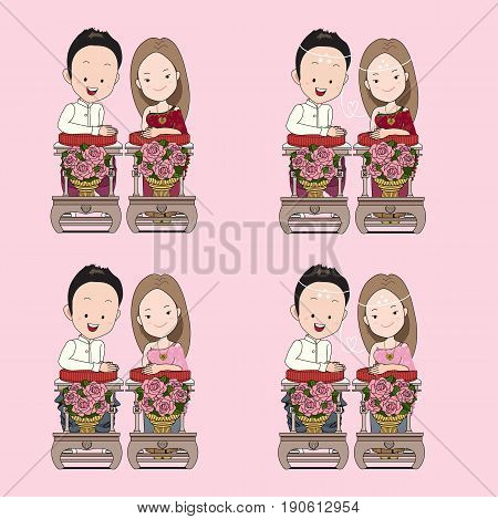 Thai wedding vector cartoon in blessed water traditional ceremony with happy face.