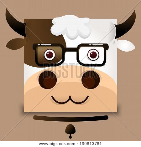 flat vector image of an ox face on gray background Vector illustration