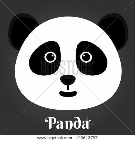 simple sign a panda - design template on black background vector illustration.