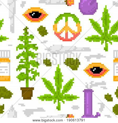 Pixel art style medical marijuana objects weed seamless vector pattern white