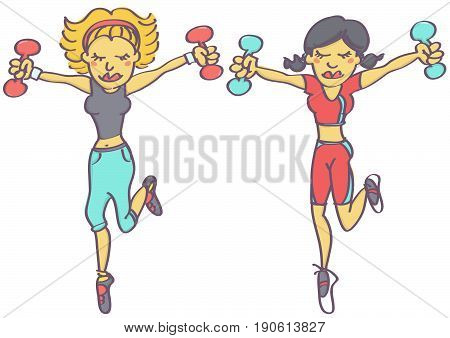 Cartoon illustration with two women characters exercising aerobics with dumbbells, isolated vector drawing