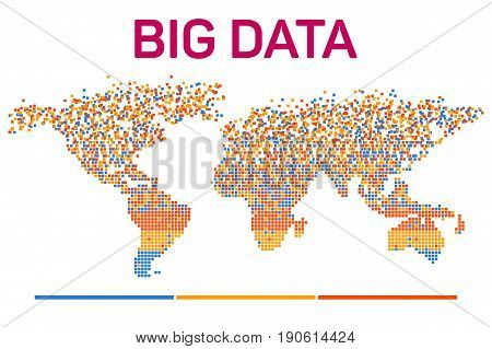 Big data visualization with worldmap mosaic template silhouette. Machine learning algorithms. Analysis of information. Visual data infographics design. Science and technology vector background.