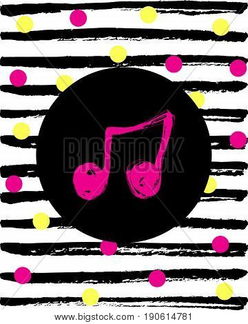 Cute music note icon on hand drawn background.  Funny music note vector Illustration.