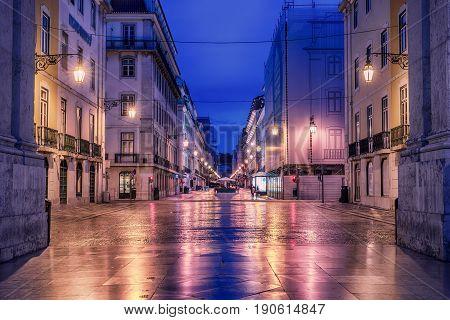 Lisbon, Portugal: Rua de Augusta, Augusta street at sunrise