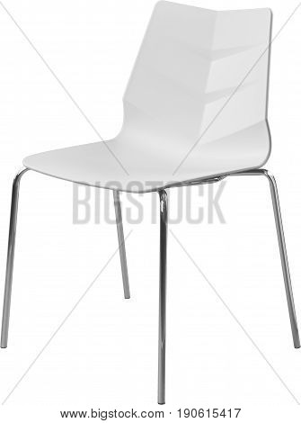 white color plastic chair with chrome legs, modern designer. Chair isolated on white background. furniture and interior.