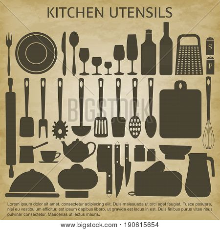 Kitchenware set-vector illustration. Background of brown grunge. Plates cups, forks knives spoons, grater, rolling pin, wine glasses, bottle, kettle, chefs hat, salt shaker pepper pot ladle.