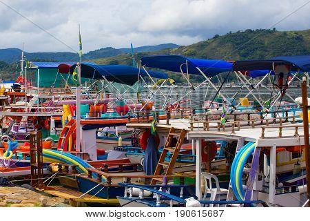 colorful boats at the bay of Parati
