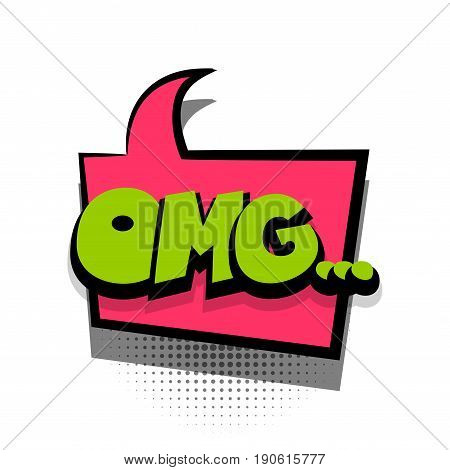 Funny OMG comic book letters cartoon text dialog colored cloud. For sale banner. Abstract creative hand drawn vector exclusive font bubble. Speech balloon on halftone dot background pop art style