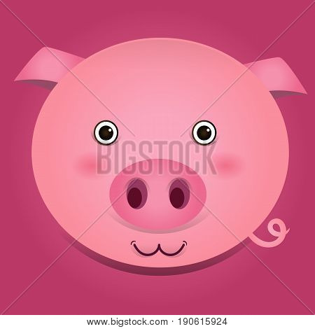 Vector image of a cute pig head on pink background