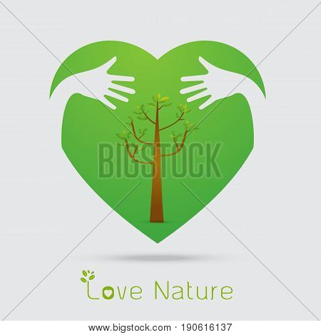 hand hug love natural concept.sign in the line art style.a beautiful environmentally friendly natural Vector illustration