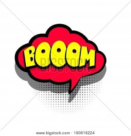 Funny BOOM comic book letters cartoon text dialog colored cloud. Sale banner. Abstract creative hand drawn vector exclusive font bubble. Speech balloon on halftone dot background pop art style
