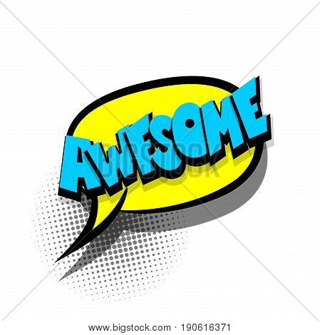 Funny AWESOME comic book letters cartoon text dialog colored cloud. For sale banner. Abstract creative hand drawn vector exclusive font bubble. Speech balloon on halftone dot background pop art style