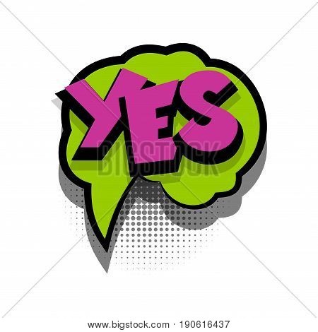 Funny YES ok comic book letters cartoon text dialog colored cloud. For sale banner. Abstract creative hand drawn vector exclusive font bubble. Speech balloon on halftone dot background pop art style