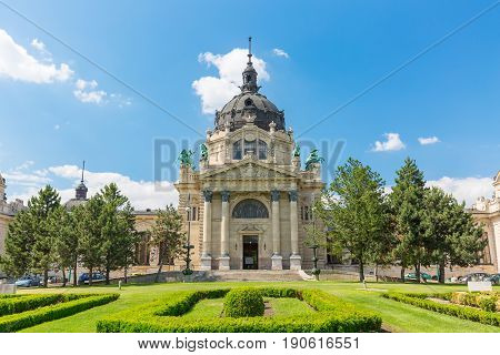 The Szechenyi bath building in Budapest, Hungary.