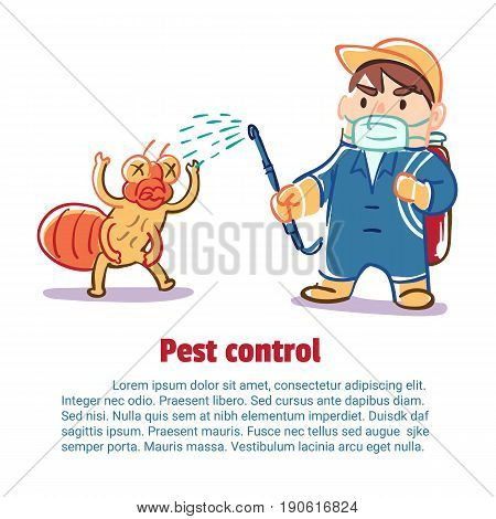 A man kill an insect by chemical Pest control Vector illustration.