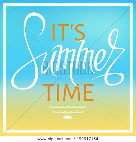 A square vector it's summer time with a blurred background and lettering