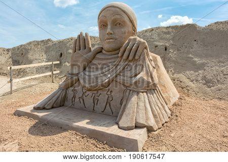 Jelgava, LV - JUNE 10, 2017: International Sand Sculpture Festival `Summer Signs`