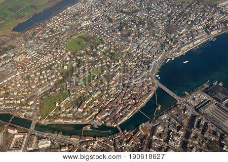 Lucerne Luzern Switzerland Town City Aerial View Photography