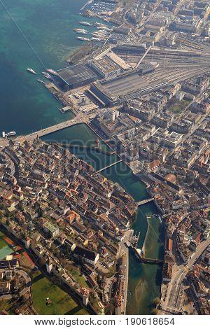 Lucerne Chapel Bridge Luzern Switzerland Town City Upright Aerial View Photography