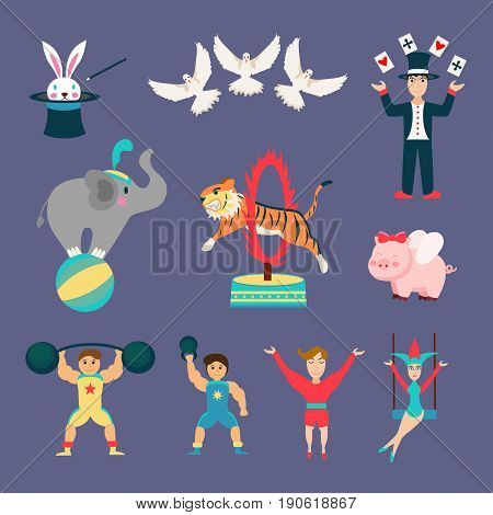 Flat Set of Circus animals and people.