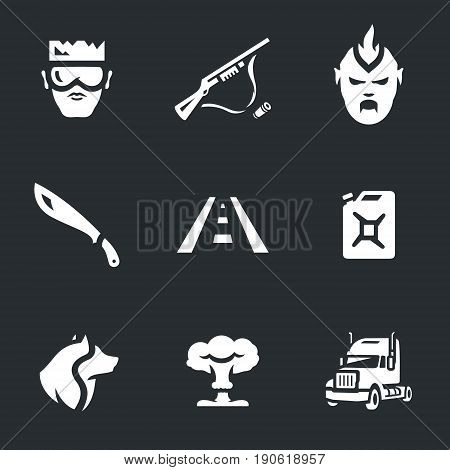 Hero, weapon, monster, machete, road, canister, dog, nuclear explosion, truck.