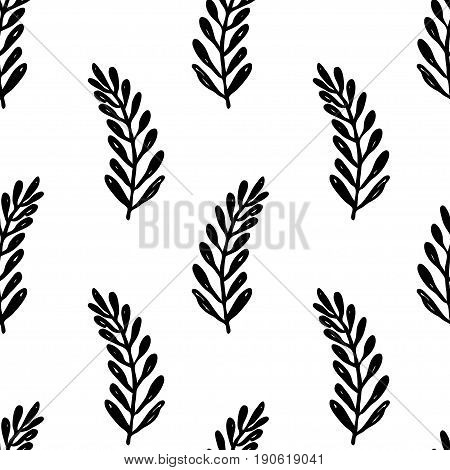 Vector seamless floral pattern. Black and white hand drawn branch pattern for paper textile handmade decoration polygraphy t-shirt game cards web design