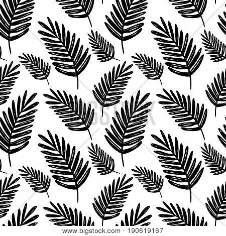 Vector seamless floral pattern. Black and white hand drawn palm branch pattern for paper textile handmade decoration polygraphy t-shirt game cards web design