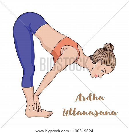 Women silhouette. Standing half forward bend yoga pose. Ardha uttanasana Vector illustration