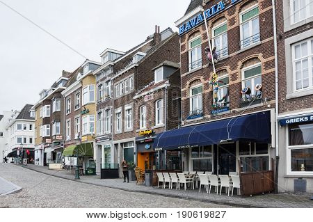 MAASTRICHT NETHERLANDS - FEBRUARY 20 2016: Street in Maastricht a city and a municipality in the southeast of the Netherlands