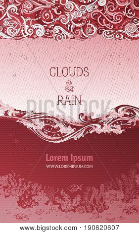 Vector Red Rain Clouds And Ocean Background.