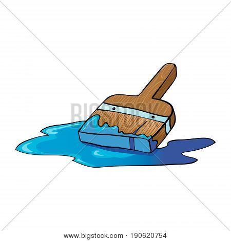 An illustration of a cartoon painter or decorators paint brush painting with blue paint. Vector illustration.
