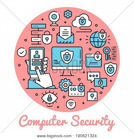 Computer security. Circle concepts security banner. Thin line art design. Modern graphic design line icons, flat elements set for websites, web banners, infographics. Creative vector illustration