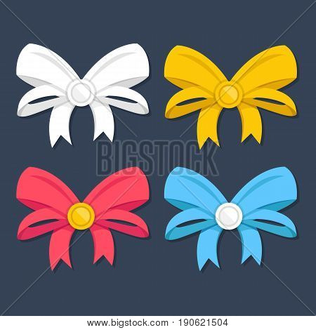 Bows set. Beautiful vector bows with ribbons collection. Red, blue, white and yellow colors. Creative vector illustration