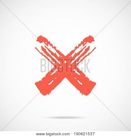 Brush stroke red x mark icon. Painted red cross symbol. Vector icon isolated on gradient background