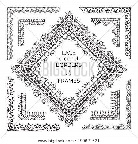 Vector Set Of Sketch Lace Crochet Borders And Frames.