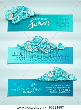 Vector Set Of Clouds Horizontal Banners.