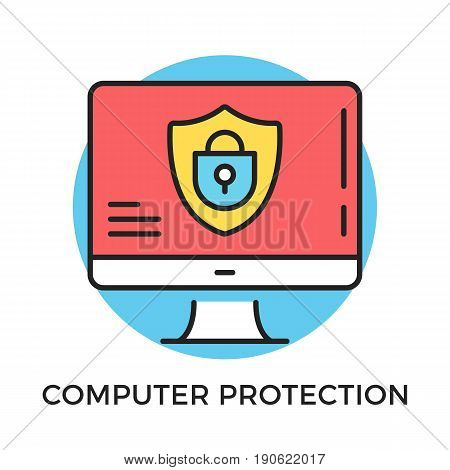 Computer protection icon. Computer with shield and lock on screen. Modern flat design thin line concept. Vector icon isolated on white background