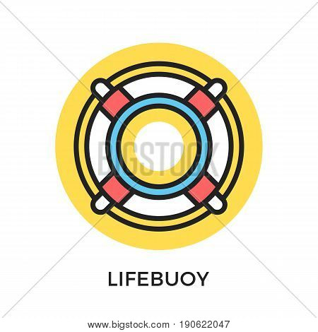 Lifebuoy icon. Life buoy, lifesaver ring. Modern flat design thin line concepts and elements. Vector icon isolated on white background