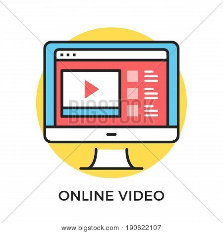 Online video icon. Computer with web browser with video sharing website on screen. Modern flat design thin line concepts and elements. Vector icon isolated on white background