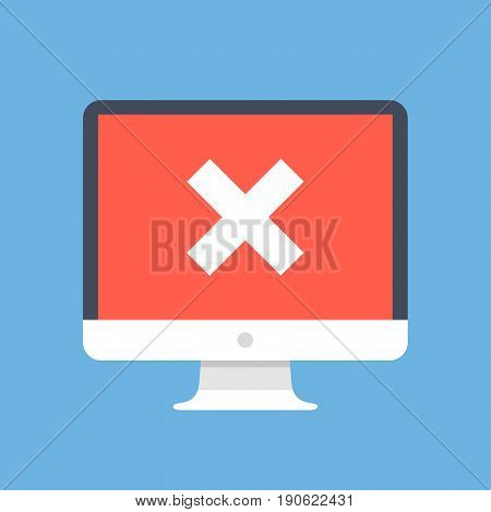 Red x mark on computer screen. PC, desktop computer with white cross. Failure concept. Modern design for web banners, web sites, infographics. Flat design vector illustration