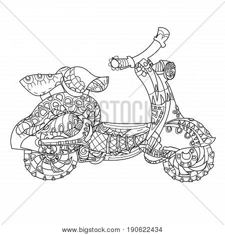 Motor scooter doodle in nice sixties style.Hand drawn doodle.Vector zen art illustration.Floral ornament.Sketch for tattoo or adult coloring pages.Boho style.