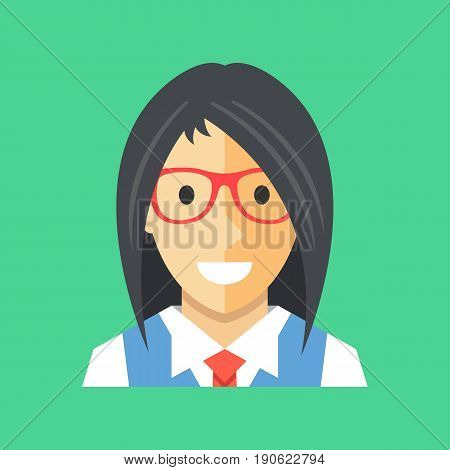 Vector woman icon. Businesswoman, office manager, banker, consultant avatar, profile concepts. Cute female character with long black hair wearing glasses, shirt, vest and tie. Modern flat icon