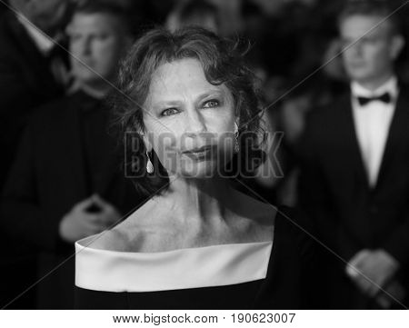 Jacqueline Bisset attends 'Amant Double (L'Amant Double')' Red Carpet Arrivals during the 70th annual Cannes Film Festival at Palais des Festivals on May 26, 2017 in Cannes, France.