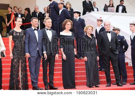 Jacqueline Bisset, Jeremie Renier, Francois Ozon, Marine Vacth attend  'Amant Double (L'Amant Double')' Red Carpet Arrivals during the 70th Cannes Festival at Palais on May 26, 2017 in Cannes, France.