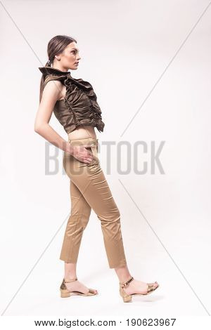 One Young Caucasian Woman 20S, 20-29 Years, Fashion Model Posing, Studio, White Background, Hand On