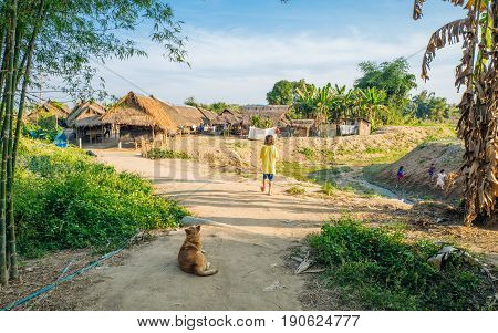 CHIANG RAI, THAILAND - FEBRUARY 4, 2016: Hill tribe village populated by Karen long neck people between Chiang Rai and Chiang Mai. Karen is one of several ethnic hill tribes in northern Thailand.