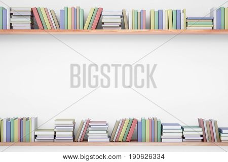 Shelves with colorful book on white background. Education concept. Copy space 3D Rendering