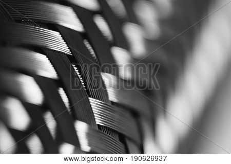 Metal wire braiding. Steel texture. Background. Template. Close up.