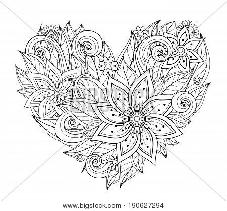 Vector Monochrome Floral Composition in Heart Shape. Hand Drawn Ornament with Flowers. Beautiful Doodle Background for Valentine Greeting Card Coloring Book Page