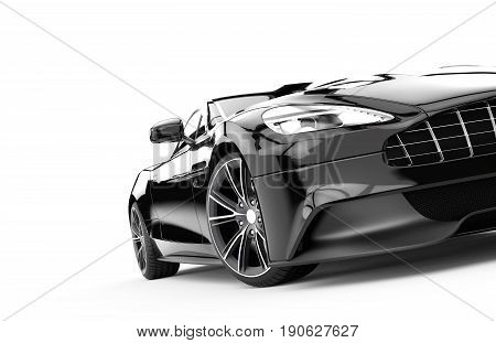 Black sport car isolated on a white background: 3d rendering